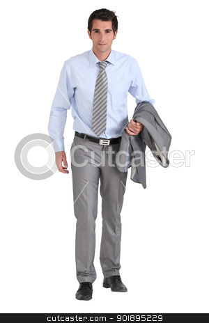 Businessman with jacket over arm stock photo, Businessman with jacket over arm by photography33