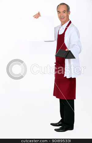 Waiter with a board left blank for your message stock photo, Waiter with a board left blank for your message by photography33