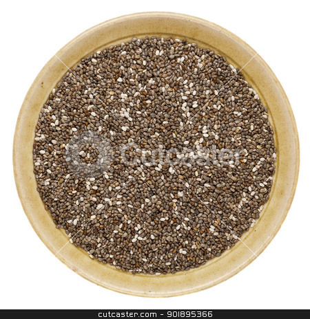 chia seeds in a bowl stock photo, chia seeds (Salvia Hispanica) in a round ceramic bowl isolated on white by Marek Uliasz