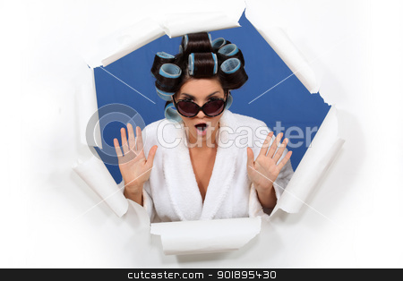 woman wearing sunglasses with hair curlers stock photo, woman wearing sunglasses with hair curlers by photography33