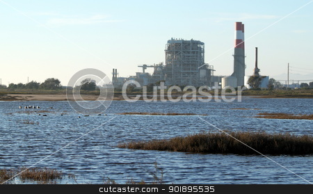 Power Station stock photo, natural gas power statio near oxnard california by Henrik Lehnerer