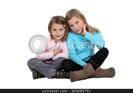 Sisters sitting together stock photo, Sisters sitting together by photography33