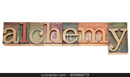 alchemy word in wood type stock photo, alchemy - isolated word in vintage letterpress wood type stained by color inks by Marek Uliasz