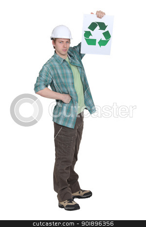 Builder holding the universal recycling symbol stock photo, Builder holding the universal recycling symbol by photography33