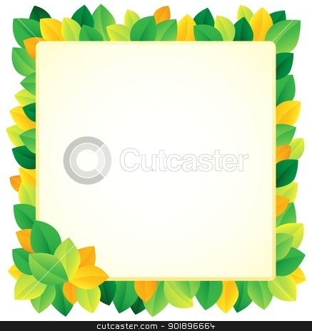 Leafy theme frame 1 stock vector clipart, Leafy theme frame 1 - vector illustration. by Klara Viskova