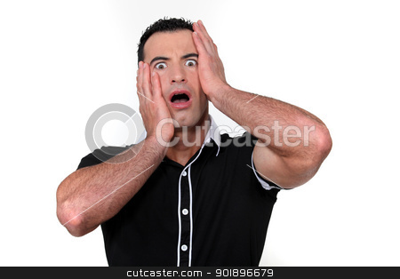 Man with shocked look on face stock photo, Man with shocked look on face by photography33