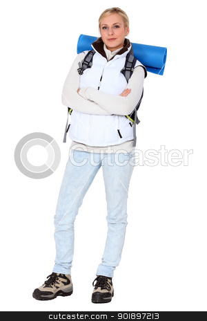 Woman with a backpack stock photo, Woman with a backpack by photography33
