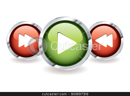 Simple music controls stock vector clipart, Play and fast forward icon buttons with rewind in red and green by Michael Travers