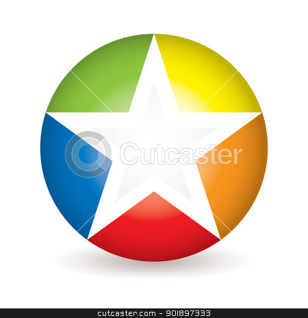 Rainbow star icon stock vector clipart, Circle with star icon and copyspace drop shadow by Michael Travers