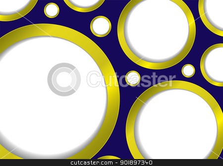 Gold bubble background stock vector clipart, Bubble background with gold rim and blue backdrop and copyspace by Michael Travers
