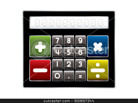 Modern calculator stock vector clipart, Modern electronic calculator with colorful buttons by Michael Travers