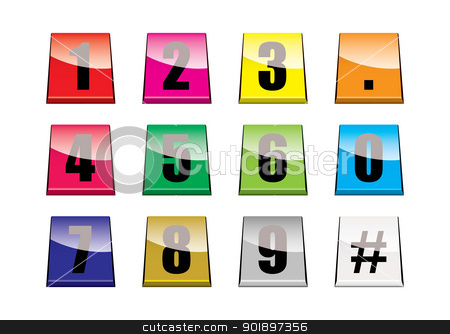 Number tabs stock vector clipart, Collection of brightly coloured number tabs with light reflection by Michael Travers