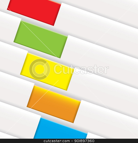 Folder tag background stock vector clipart, White paper background with colorful tab or tag with copyspace by Michael Travers