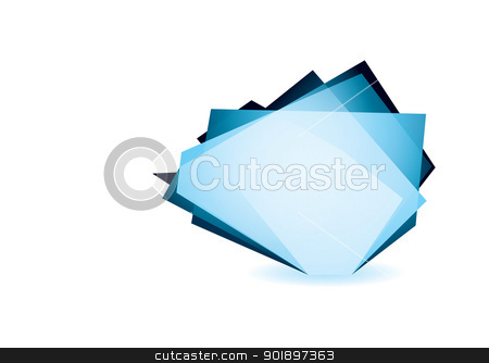 Glass shard cobalt stock vector clipart, Blue glass shard icon with white background and copyspace by Michael Travers