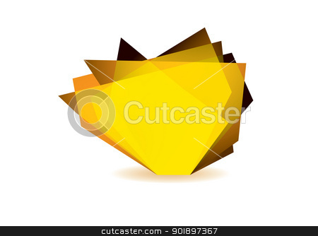 Glass shard orange stock vector clipart, Orange glass shard with white background and copy space by Michael Travers