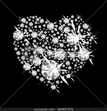 Diamond Heart stock vector clipart, Diamond jewelery heart concept with black background and glittering jewels by Michael Travers