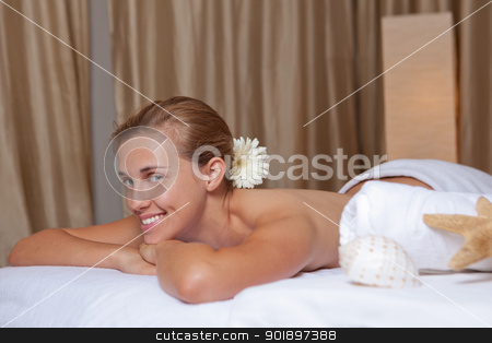 smiling relaxed woman stock photo, happy smiling relaxed woman at spa or beauty salon by mandygodbehear