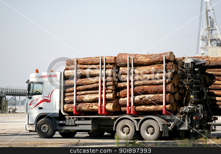 Truck transporting logs stock photo, Truck transporting logs by photography33