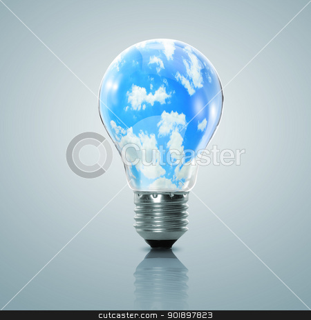 Electric light bulb and blue sky inside it stock photo, Electric light bulb and blue sky with clouds inside it by Sergey Nivens