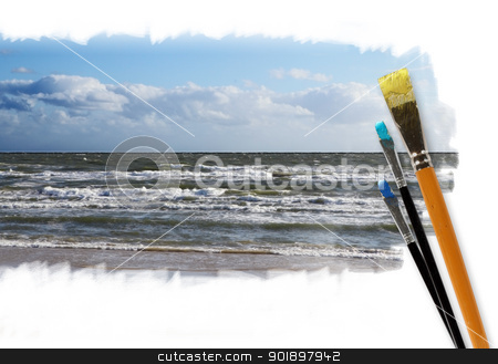 Paint brushes and landscape image stock photo, Picture of sunny sea landscape and brushes by Sergey Nivens
