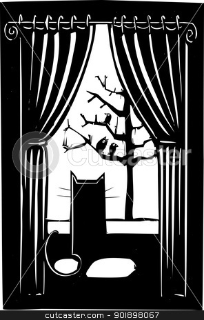 House Cat stock vector clipart, Cat looking out a window with at a flock of birds. by Jeffrey Thompson