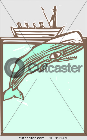 Whaling stock vector clipart, Whaling boat with harpoon hunts a whale. by Jeffrey Thompson