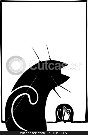 Cat and Mouse stock vector clipart, Cat watching a mouse hole waiting for mouse. by Jeffrey Thompson