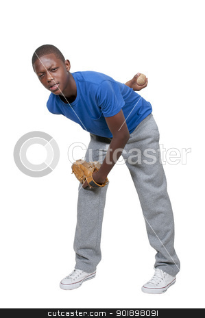 Teenage Baseball Player stock photo, A black African American teenage man baseball pitcher getting ready to throw a ball in a game by Robert Byron
