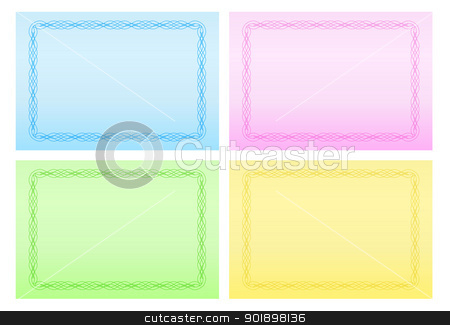 Greetings Cards with Calligraphic Border in Four Colors stock vector clipart, Greetings card with calligraphic border in pink, green, yellow and blue color by Ludek Vodicka