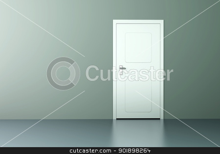 Door stock photo, A closed door in a empty room. 3D rendered illustration. by Michael Osterrieder