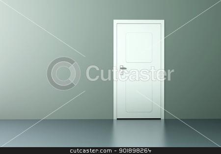 Door stock photo, A closed door in a empty room. 3D rendered illustration. by Michael Osterrieder