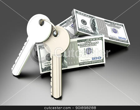 Money and Keys stock photo, A pair of keys with Dollar notes. Symbol for Real estate investments. 3D rendered illustration. by Michael Osterrieder