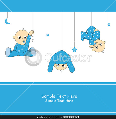 Baby boy arrival card stock vector clipart, Baby boy arrival card by sbego