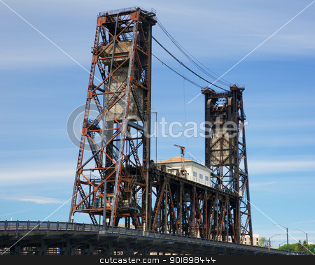 Old Steel Bridge Portland stock photo, Old rusted Steel Bridge Portland against a hazy blue sky by bobkeenan