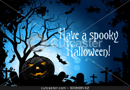 Have a Spooky Halloween stock vector clipart, Abstract Blue Halloween Card with Message