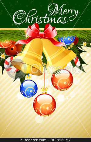 Merry Christmas Greeting Card stock vector clipart, Merry Christmas Greeting Card with Bells and Christmas Balls by Vadym Nechyporenko
