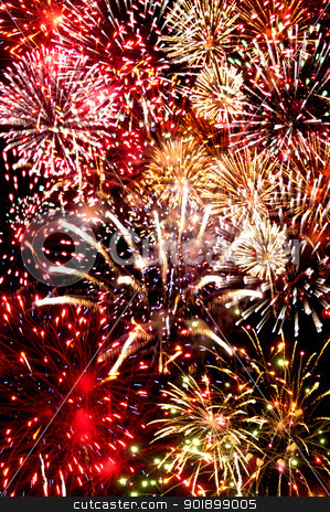 Fireworks stock photo, Fireworks exploding in the dark of the evening sky by Robert Byron