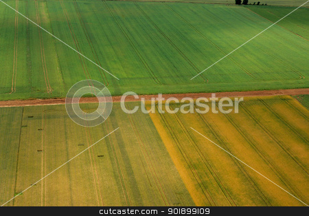 Aerial shot of fields stock photo, Aerial shot of fields by photography33