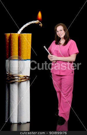 Cigarette Bomb stock photo, Doctor or nurse with several cigarettes bound together like sticks of dynamite by Robert Byron