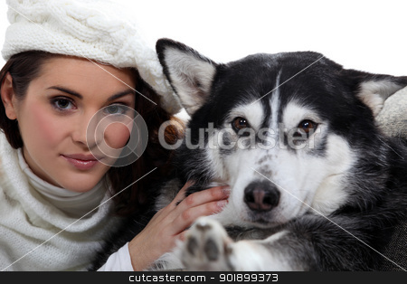 Woman with dog stock photo, Woman with dog by photography33