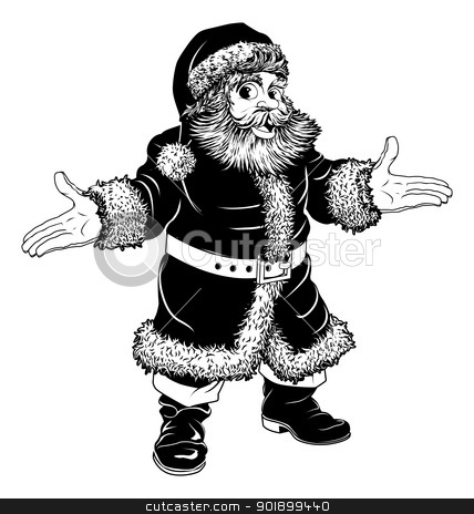 Black and white Christmas Santa Claus stock vector clipart, Illustration of a black and white Christmas Santa Claus by Christos Georghiou
