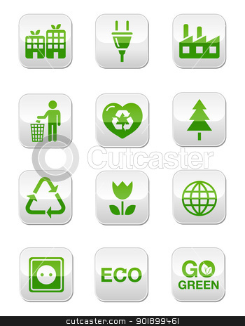 Eco green icons on modern shiny buttons stock vector clipart, Ecology, recycling, footprint concept buttons set by Agnieszka Bernacka