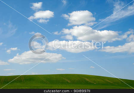 Landscape and clouds stock photo, Landscape with green hill and clouds by Lars Christensen