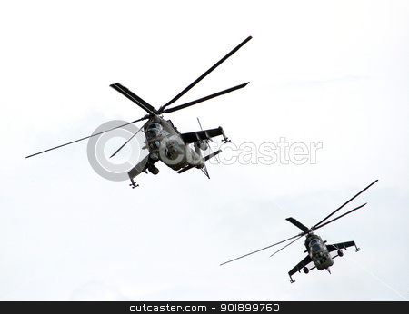 gunships stock photo, Shot of a two helicopters by Siloto