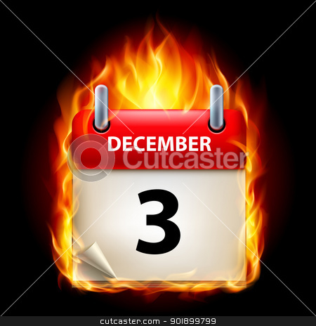 Burning calendar stock photo, Third December in Calendar. Burning Icon on black background by dvarg