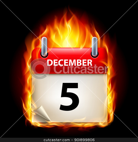 Burning calendar stock photo, Fifth December in Calendar. Burning Icon on black background by dvarg