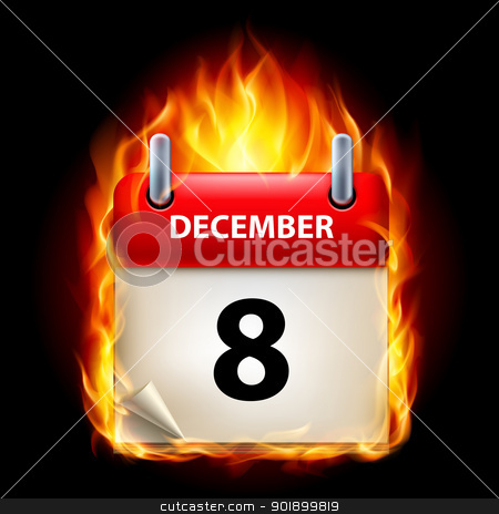 Burning calendar stock photo, Eighth December in Calendar. Burning Icon on black background by dvarg