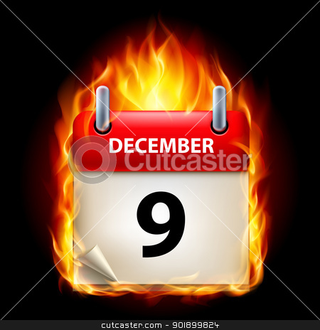 Burning calendar stock photo, Ninth December in Calendar. Burning Icon on black background by dvarg