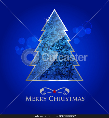 Vector glossy christmas tree stock vector clipart, Abstract vector glossy christmas tree on blue background with bokeh element by Vladimir Repka