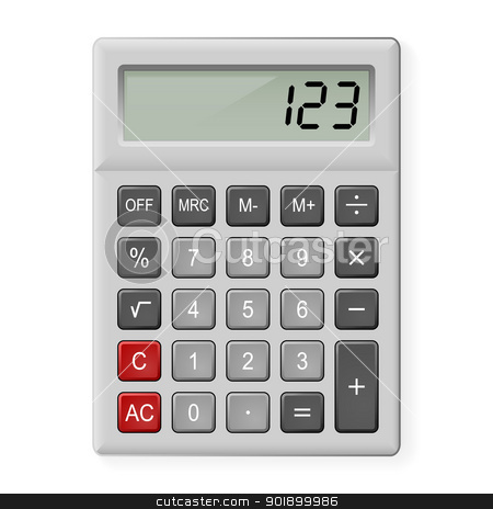Gray Calculator stock photo, Top View of Gray Calculator. Illustration on white by dvarg